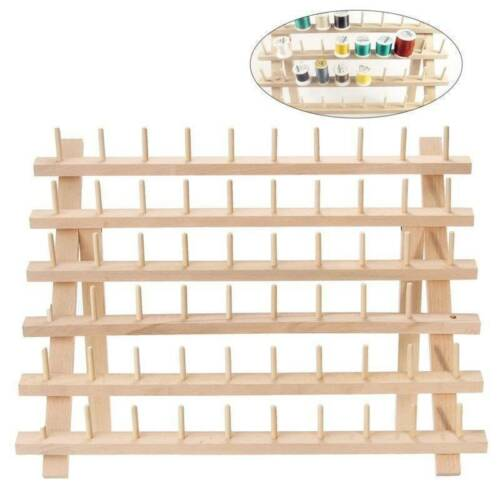 60 Spools Wood Sewing Thread Stand Embroidery Rack Wall Mount Organizer Hot UK