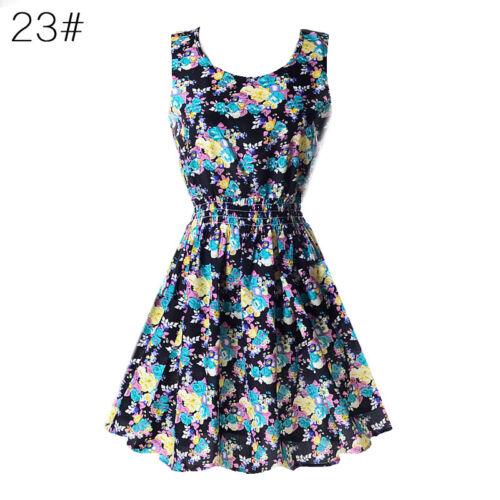 UK BOHO MINI DRESS Womens Sleeveless Casual Short Sundress Summer Holiday Beach