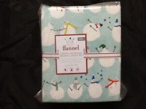 Pottery Barn Kids Flannel Cheery Snowman Organic Sheet Set