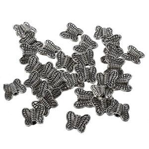30-Stueck-Tibetanische-Silber-Schmetterlings-Distanzscheiben-Charme-Korne-10mm