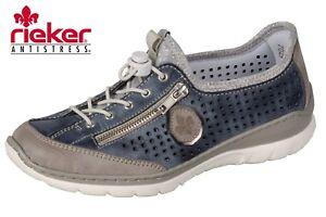 Details zu Rieker Damen Sommer Schuhe Sneaker Slipper Blau Beige Leder Optik L3296 42 NEU