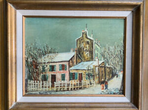 Reproduction on canvas Of painting of French street signed Maurice Utrillo