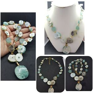 Amazing-Roman-Glass-with-Brass-Gold-plated-Beads-Old-unique-Necklace-2A