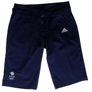 ADIDAS-TEAM-GB-ISSUE-RIO-2016-ELITE-ATHLETE-LADIES-NAVY-BLUE-SHORTS-Size-L-34-034