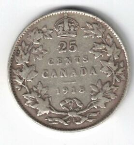 CANADA-1918-TWENTY-FIVE-CENTS-QUARTER-KING-GEORGE-V-STERLING-SILVER-COIN