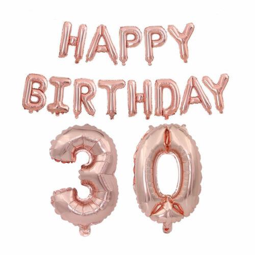 Happy Birthday Balloons Banner Rhinestone Tiara Crown Rose Gold Sash 18//21//30//40