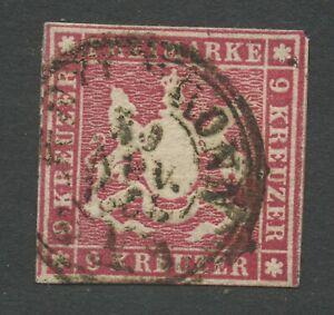 Old-Germany-Wurttemberg-1857-Mi-9-Postmarked