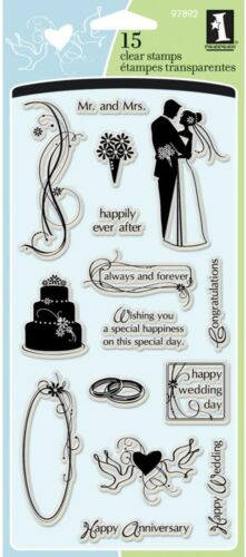 WEDDING Clear Unmounted Rubber Stamps Set INKADINKADO 97892 Wedding Day New
