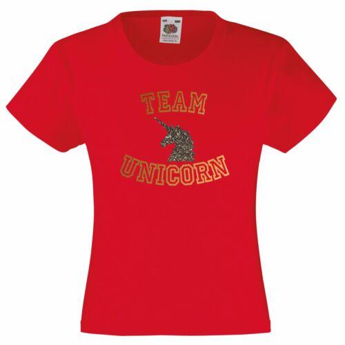 Équipe Licorne T-Shirt Enfants 3-13 An or Brillant Mlp