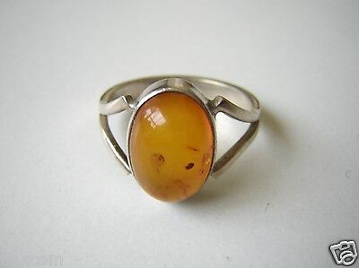 "925 ""ls"" Sterling Silber Ring Mit Honig Bernstein Cabochon 4,0 G /rg 61 Jewelry & Watches"