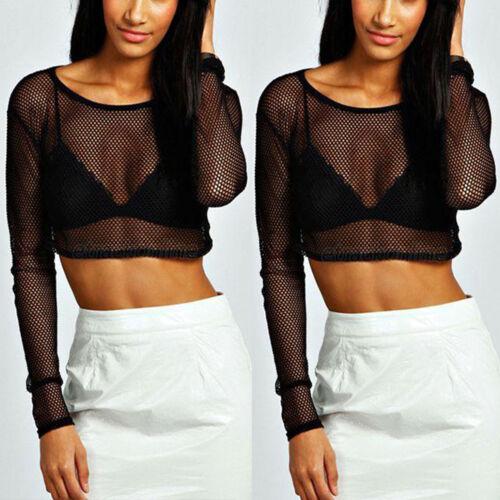 Women Mesh Fishnet See Through Crop Top Ladies Long Sleeve Casual T Shirt Blouse