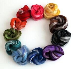 Rainbow-Luxury-Merino-Wool-and-Silk-Variety-100g-Handspinning-Yarn-or-Felting