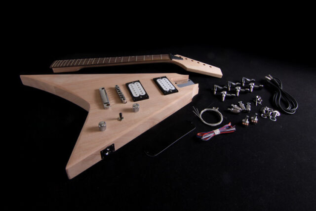 DIY Electric Guitar Kit Project Solid Mahogany Body Bolt On Neck Unfinished