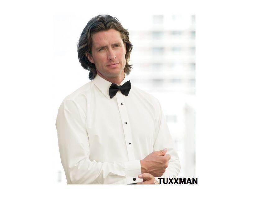 Microfiber Light Ivory Laydown Prom Wedding Tuxedo Dress Shirt Tux TUXXMAN