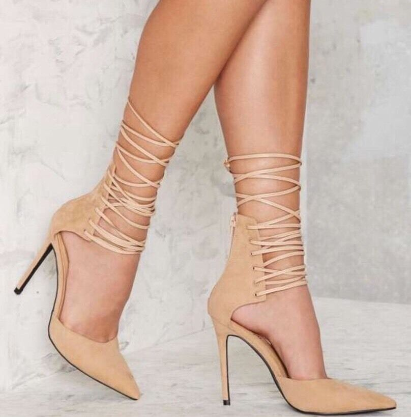 NWOT Nasty Gal Strap Minded Lace Up Heel Pump Nude Faux Suede Size 7.5