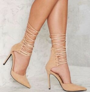 NWOT-Nasty-Gal-Strap-Minded-Lace-Up-Heel-Pump-Nude-Faux-Suede-Size-7-5