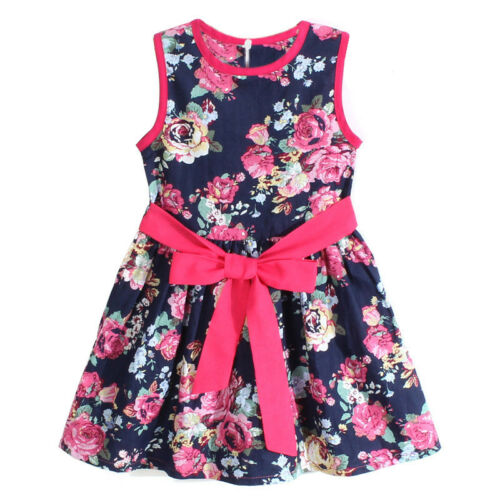 Kid Baby Girls Flower Floral Dresses Sleeveless Summer Princess Party Dress Belt