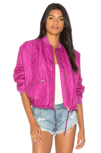NWT Free People Easy Quilted Bomber in Pink Retro Boxy Oversize Jacket S $168