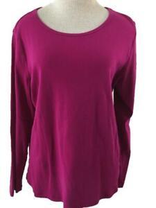 St Johns Bay knit top Size XL dark pink long sleeve womens cotton