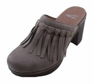 Dansko-Deni-Milled-Womens-Taupe-Nubuck-Leather-Slip-on-Clogs