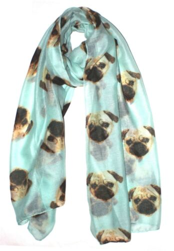 Aqua Blue Quirky Dog Print Ladies Scarves UK Seller Pug Dog Print Scarf