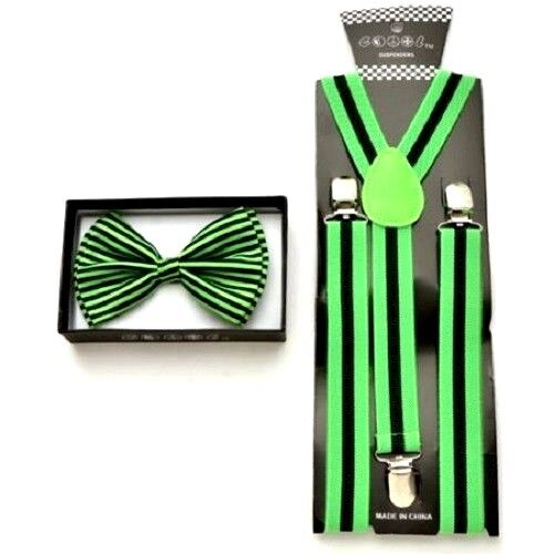 NEW Black with Green Stripes Suspender and Bow Tie Bowtie Combo Set