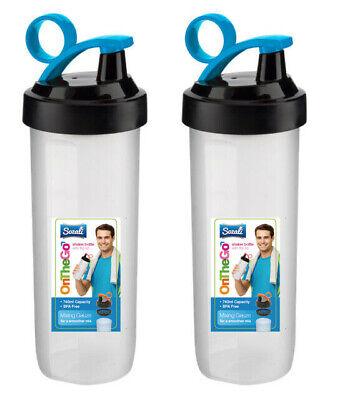 2 Protein Shaker Bottles 740ml Multi-Purpose Bottle Gauze Mixer Plastic Flip Lid
