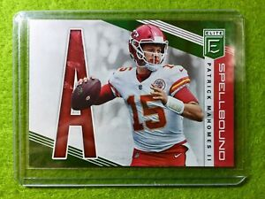 PATRICK-MAHOMES-SPELLBOUND-CARD-JERSEY-15-CHIEFS-SP-2019-Donruss-Elite-Green-A