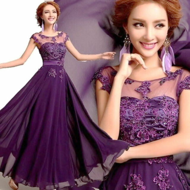 Beautiful New Long Chiffon Bridesmaid Evening Formal Party Ball Gown Prom Dress%
