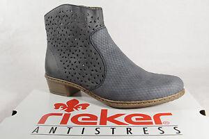 Details zu Rieker Y0766 Damen Stiefel Stiefelette Boots blau Reißverschluss NEU