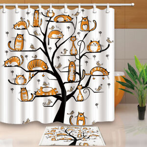 Image Is Loading Yoga Cat And Birds On Tree Branch Bathroom