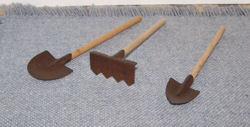 """1 Pack of 3 Rusty Tin and Wood Mini Garden Tools Spring Craft Supply 4/"""" to 5/"""""""
