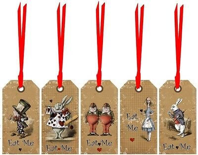 Alice in Wonderland 20 eat me drink me tags party decorations red satin ribbon