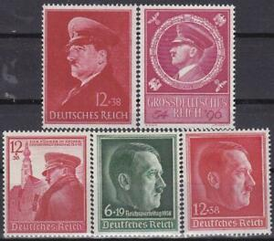 Nazi-Germany-3rd-Reich-5-Rarer-Hitler-Issues-MNH