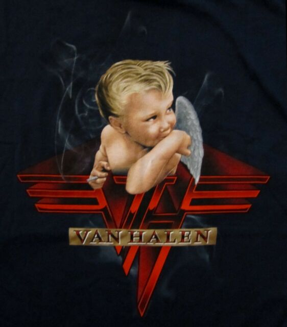VAN HALEN cd cvr 1984 BABY SMOKING Official BLUE SHIRT MED new