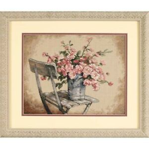 Dimensions-034-Roses-on-White-chair-034-Cross-Stitch-kit-punto-de-cruz-Stick-envase-36-28