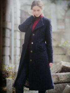 Brora Ladies Textured Wool Coat Navy, Ladies Long Black Wool Coat Uk
