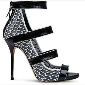 New-Womens-Stilettos-Peep-Toe-Zipper-Sandals-Ankle-Strappy-High-Heel-Party-Shoes