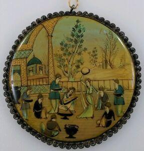 Persian-MOP-Handpainted-Music-Dance-Pendant-Sterling-Silver-Filigree-Antique-Vtg