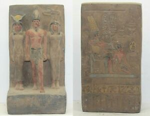 RARE ANCIENT EGYPTIAN ANTIQUE ISIS and Menkaure and Hathor Statue 1965-1896 BC