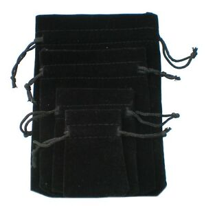10-25-50-100-Black-Velvet-Bags-Jewelry-Drawstring-Gifts-Pouches-Wedding-Favors