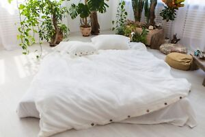 Linen-Duvet-Cover-Closure-buttons-100-Flax-White-Brown-Gray-Blue