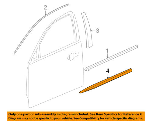Buick GM OEM 10-16 LaCrosse FRONT DOOR-Body Side Molding Right 20902218