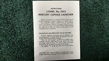 LIONEL # 3413 MERCURY CAPSULE LAUNCHER INSTRUCTIONS PHOTOCOPY