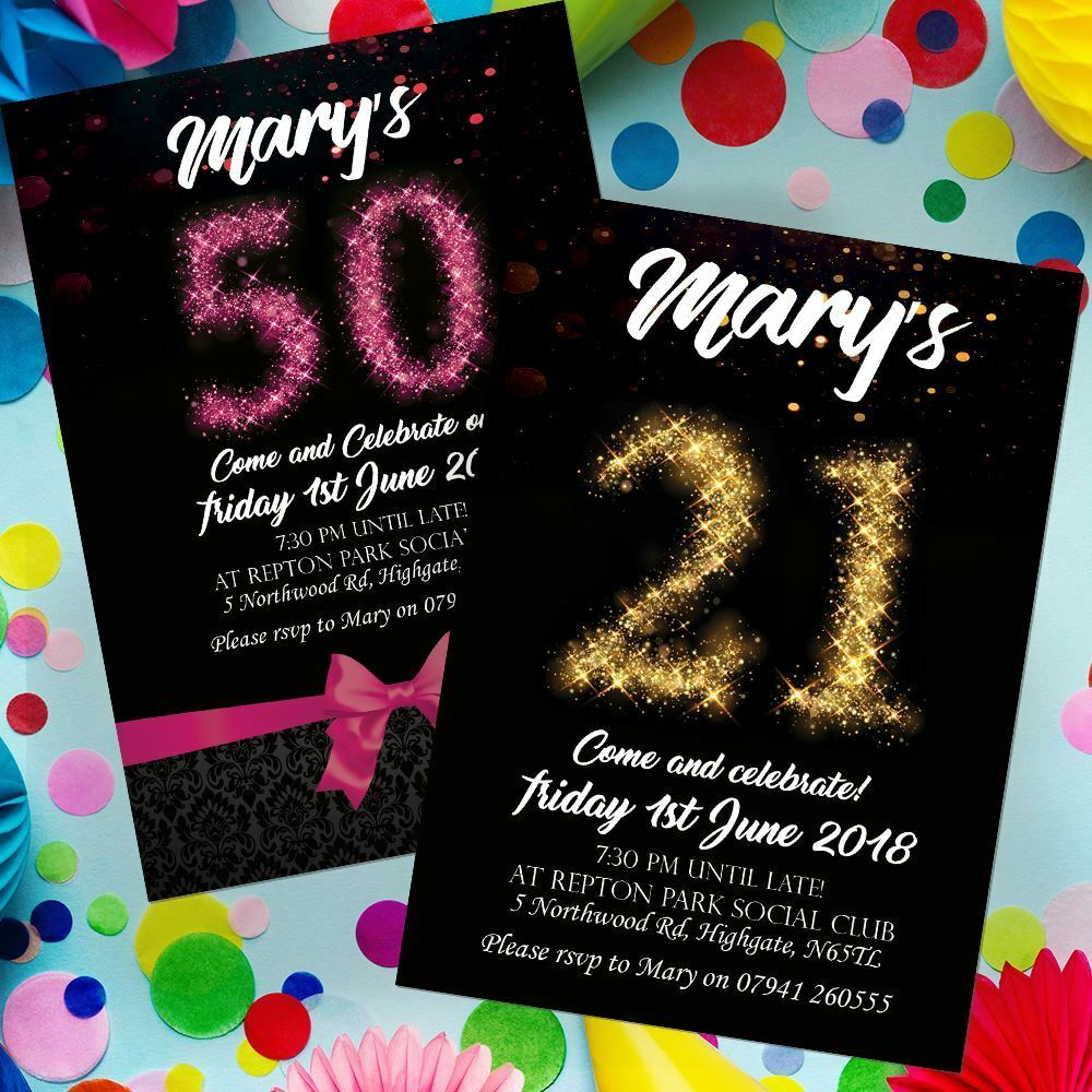 Personalised Birthday Invitations Invites 18th 21st 30th 40th 50th