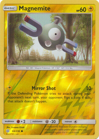 Common Reverse Holo Pokemon Card Cosmic Eclipse Set NM Magnemite 68//236