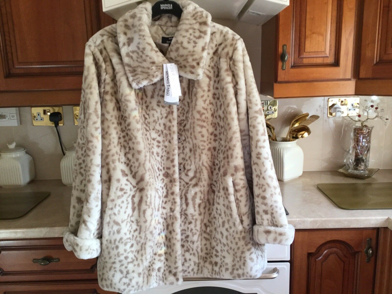 Dennis Basso Ivory Animal Print Faux Fur Coat (BNWT)
