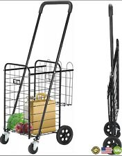 Tuffiom Folding Grocery Shopping Cart Heavy Duty Amp Portable Utility Cart Black