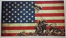 "Battle of Iwo Jima American Flag GIANT WIDE 42"" x 24"" Poster Print WW2 MEMORIAL"