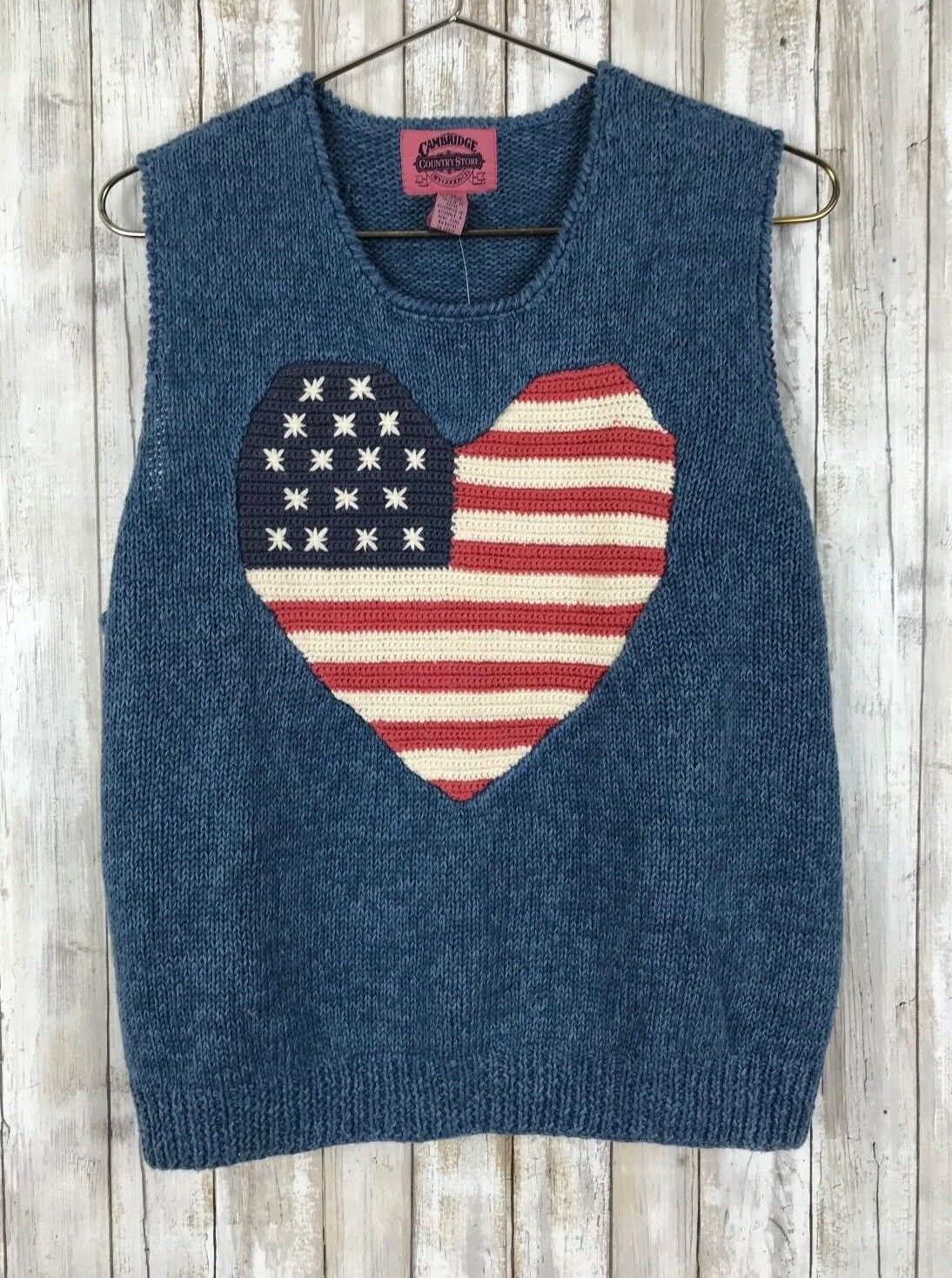1995 Cambridge Dry Goods bluee American Heart Stripe Knit Sweater L Large NEW